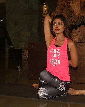 Photos: Shilpa Shetty Media Interactions For Her App & World Yoga Day At Her Residence