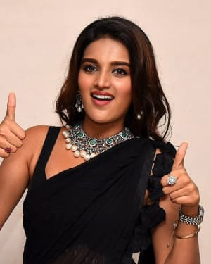 In Pics: Nidhhi Agerwal In Black Saree At Ismart Shankar Pre Release Event | Picture 1662745