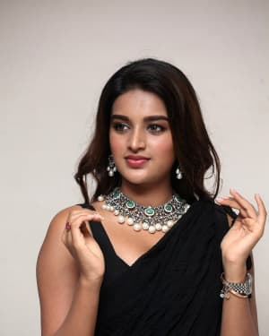 In Pics: Nidhhi Agerwal In Black Saree At Ismart Shankar Pre Release Event | Picture 1662761