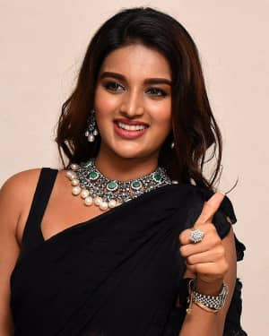 In Pics: Nidhhi Agerwal In Black Saree At Ismart Shankar Pre Release Event | Picture 1662744