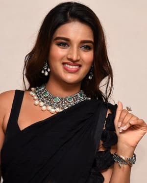 In Pics: Nidhhi Agerwal In Black Saree At Ismart Shankar Pre Release Event | Picture 1662743